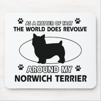 The dog revolves around my norwich terrier mouse pad
