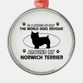 The dog revolves around my norwich terrier Silver-Colored round ornament