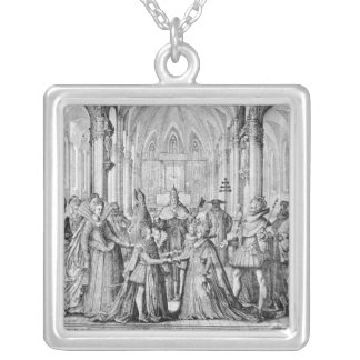 The Double Marriage in Louis XIII  to Anne Silver Plated Necklace