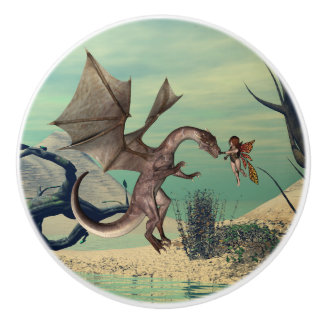 The dragon and the fairy ceramic knob
