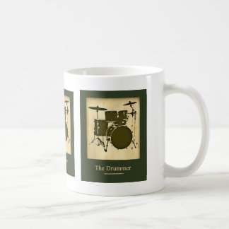 the drummer of the band classic white coffee mug