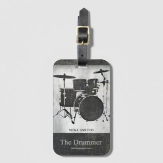 the drummer of the rock band, black luggage tag