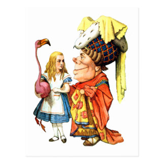 THE DUCHESS TEACHES ALICE FLAMINGO CROQUET POSTCARD