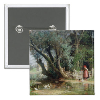 The Duck Pond 2 Inch Square Button