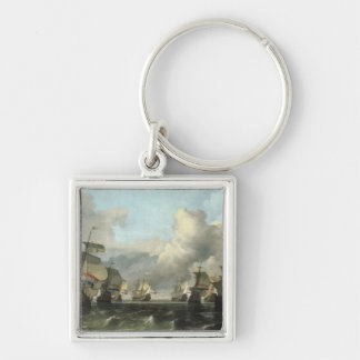 The Dutch Fleet of the India Company, 1675 Silver-Colored Square Keychain