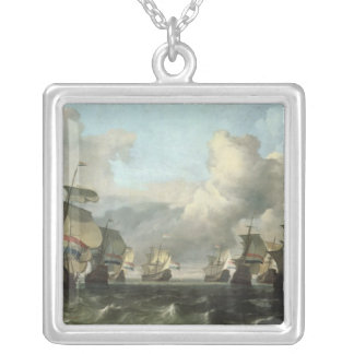 The Dutch Fleet of the India Company, 1675 Silver Plated Necklace
