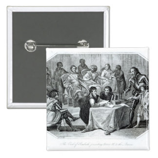 The Earl of Pembroke Presenting Henry III 2 Inch Square Button