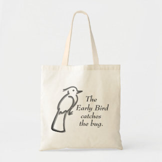 The early bird catches the bug tote bag