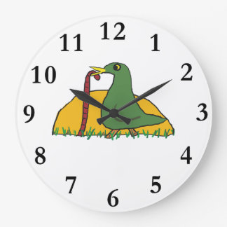 The Early Bird Catches the Worm Large Clock