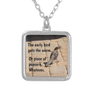 The early bird silver plated necklace