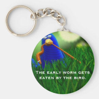 The early worm gets eaten by the bird. basic round button keychain