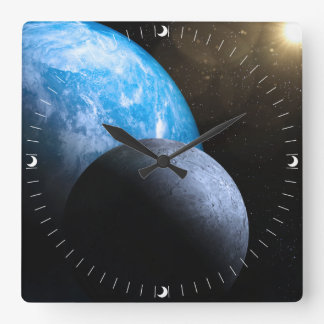 The Earth and Moon Square Wall Clock