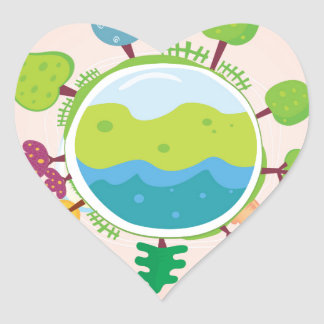 The earth day vintage Illustration edition Heart Sticker