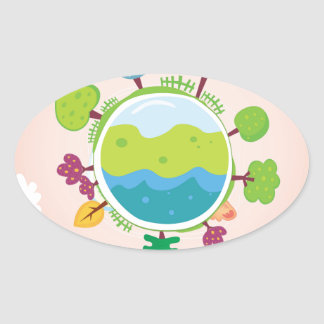 The earth day vintage Illustration edition Oval Sticker