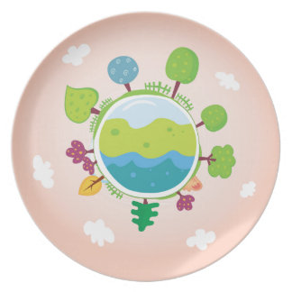 The earth day vintage Illustration edition Party Plates