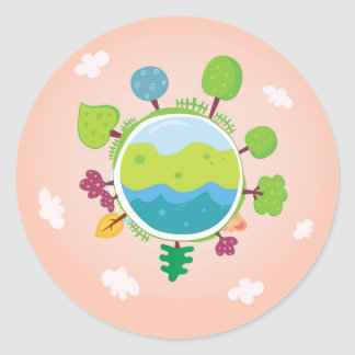 The earth day vintage Illustration edition Round Sticker