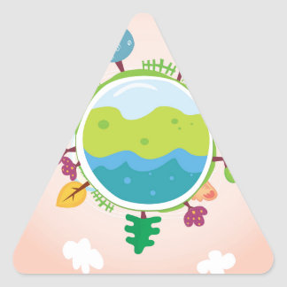 The earth day vintage Illustration edition Triangle Sticker