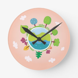 The earth day vintage Illustration edition Wallclocks