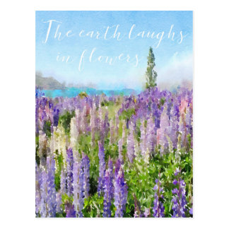 The earth laughs in flowers quote notecard postcard