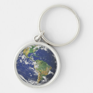 The Earth Silver-Colored Round Keychain