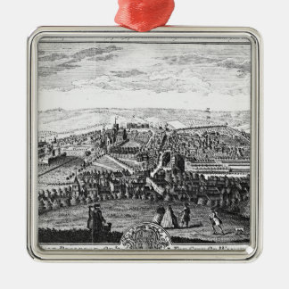 The East Prospect of the City of Winchester Silver-Colored Square Ornament