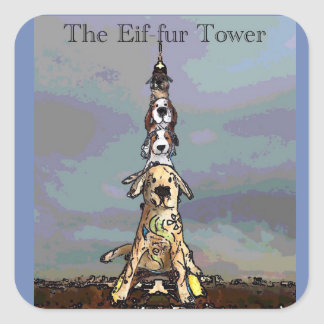 The Eif-fur Tower Square Sticker