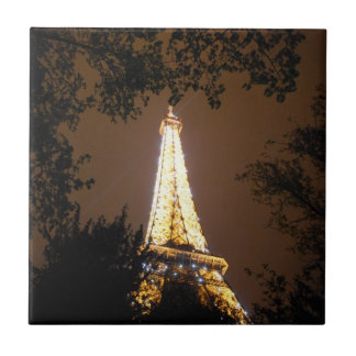The Eiffel Tower at Night Ceramic Tile