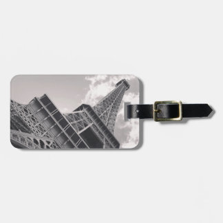 The Eiffel Tower in black and white Luggage Tag