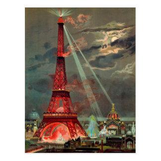 The Eiffel Tower in Red Postcard
