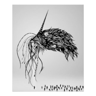 The Eldritch, abstract pen and ink illustration Poster