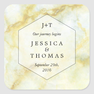 The Elegant Marble Effect Wedding Collection Square Sticker