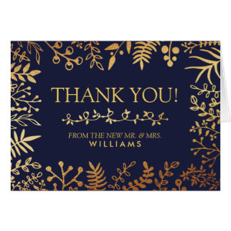 The Elegant Navy & Gold Floral Wedding Collection Card