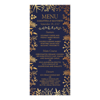 The Elegant Navy & Gold Floral Wedding Collection Rack Card
