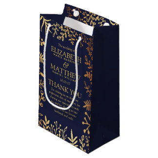 The Elegant Navy & Gold Floral Wedding Collection Small Gift Bag