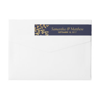 The Elegant Navy & Gold Floral Wedding Collection Wrap Around Label