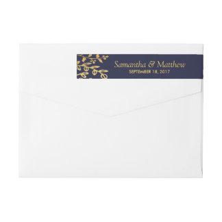 The Elegant Navy & Gold Floral Wedding Collection Wraparound Return Address Label
