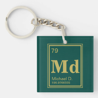 The Element of You! Custom Name Gold Periodic Single-Sided Square Acrylic Keychain