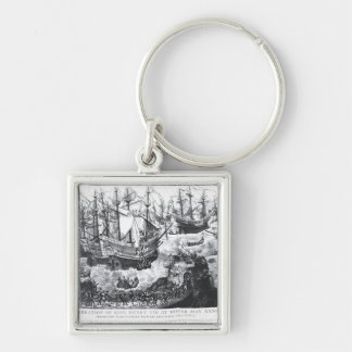 The Embarkation of Henry VIII  at Dover Silver-Colored Square Keychain