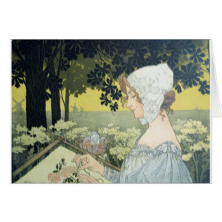 THE EMBROIDERER  LA BRODEUSE GREETING CARD