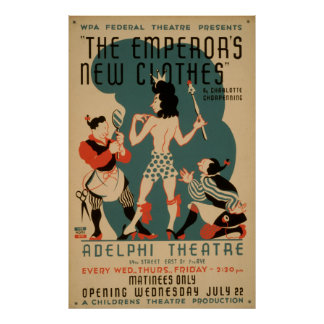 The Emperor's New Clothes Vintage WPA Theatre Poster