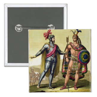 The Encounter between Hernando Cortes (1485-1547) 2 Inch Square Button