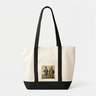 The Encounter between Hernando Cortes (1485-1547) Canvas Bags