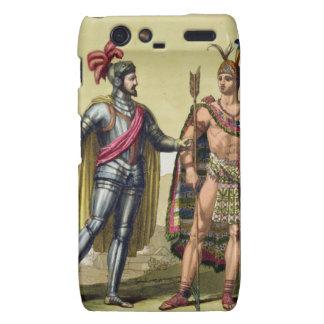 The Encounter between Hernando Cortes (1485-1547) Motorola Droid RAZR Covers