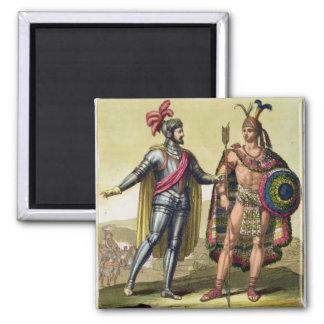 The Encounter between Hernando Cortes (1485-1547) Fridge Magnets