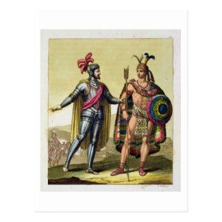 The Encounter between Hernando Cortes (1485-1547) Postcard