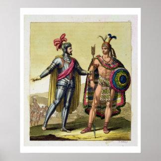 The Encounter between Hernando Cortes (1485-1547) Poster