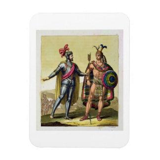 The Encounter between Hernando Cortes (1485-1547) Rectangular Photo Magnet