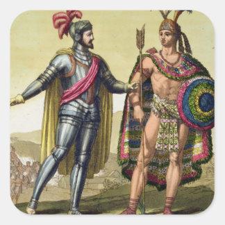The Encounter between Hernando Cortes (1485-1547) Square Sticker