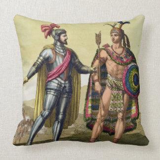 The Encounter between Hernando Cortes (1485-1547) Throw Pillows