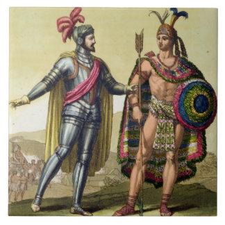 The Encounter between Hernando Cortes (1485-1547) Tiles